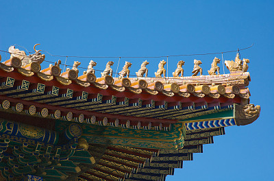 故宫,满族,明朝风格,道教,天空,金色,留白,水平画幅,无人,禁止的