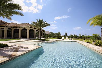 游泳池,巨大的,户外,华贵,院子,鸡尾酒,椅子,棕榈树,水,天空