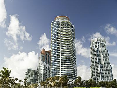 南部海滩,迈阿密,迈阿密海滩,留白,美国,水平画幅,无人,城市天际线,大西洋,建筑外部