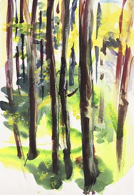 森林,多层合成涂料,表现主义,丹配拉画法,美术绘画,水粉画,垂直画幅,艺术,无人