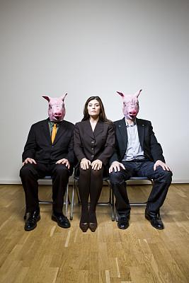 男人,猪,公亩,性别歧视,禽流感,垂直画幅,留白,女人,人,面具