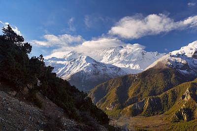 尼泊尔,安娜普娜环线,努子峰,洛子峰,冰瀑,坤布,安娜普娜山脉群峰,珠穆朗玛峰,天空,水平画幅