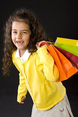 购物袋,垂直画幅,缺牙,可爱的,人,面部表情,肖像,背景分离,仅一个女孩,女孩