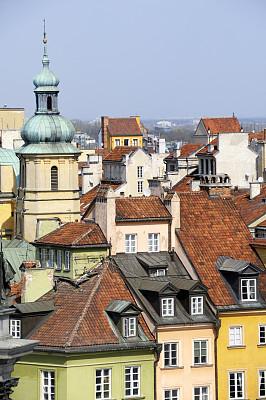 城堡广场,华沙,房屋,在上面,摄像机拍摄角度,马佐夫舍,垂直画幅,纪念碑,天空