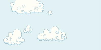 卡通,云,自然,天空,留白,无人,绘画插图,户外,毛绒绒,清新