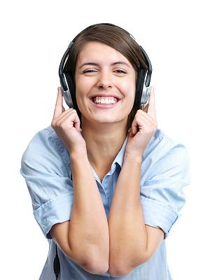 耳机,青年女人,音乐,欢乐,垂直画幅,美,女人,幸福,可爱的