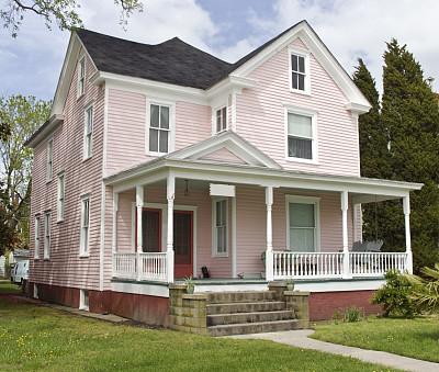 房屋,粉色,水平画幅,建筑,无人,巨大的,古典式,房地产,时尚,夏天