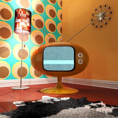 复古风格,起居室,1970年-1979年,1960年-1969年,落地灯,1950-1959年图片,住宅房间,式样,橙色,无人