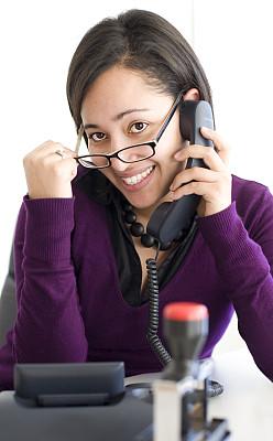 秘书,可爱的,档案管理员,垂直画幅,办公室,美,电话机,消息,美人,眼镜