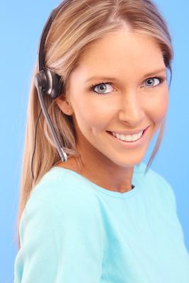 蓝色,垂直画幅,美,留白,耳麦,注视镜头,电话机,美人,白人,it技术支持