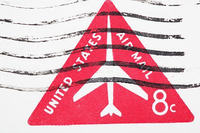 航空邮件,美国,蜉蝣,古董,水平画幅,古代,无人,古老的,古典式,白色背景