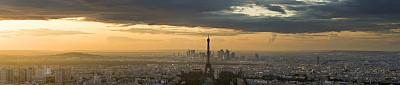全景,埃菲尔铁塔,诺贝尔塔,法国兴业银行,新凯旋门,拉德芳斯,纪念碑,水平画幅,无人,夏天