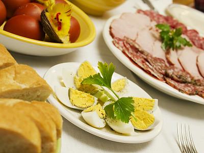 复活节,桌子,肉馅饼,餐具,水平画幅,无人,蛋糕,奶酪,肉,面包