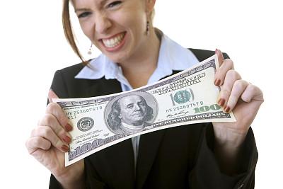女商人,家庭理财,美,留白,水平画幅,过大的,美人,仅成年人,青年人,美国百元钞票
