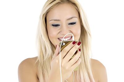 手机,免提装置,青少年,青年人,白色,技术,女人,可爱的,露齿笑