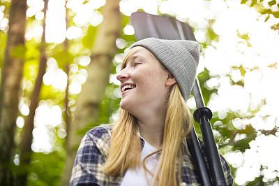 青少年,徒步旅行,美,留白,桨,青春期,半身像,休闲活动,水平画幅,户外