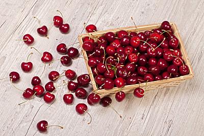 樱桃,水平画幅,水果,无人,篮子,特写,活力,红色,室内,彩色图片