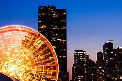 芝加哥市,摩天轮,游乐园,办公室,留白,公园,车轮,水平画幅,能源,夜晚