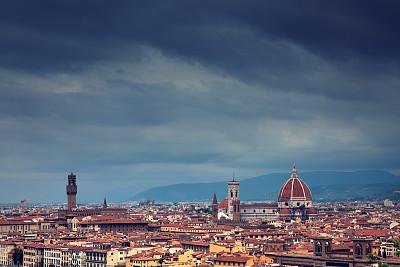 佛罗伦萨,米开朗基罗广场,佛罗伦萨市政广场,乔托·迪·邦多纳,菲利波布鲁内莱斯基,纪念碑,天空,高视角