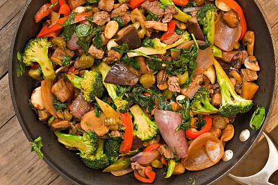 炒菜锅,褐色,水平画幅,高视角,灯笼椒,无人,膳食,金属,锅,特写