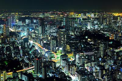 夜晚,城市,东京,天空,新的,水平画幅,无人,曙暮光,户外,都市风景