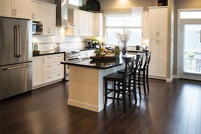 厨房,完美,莫斯特,家居开发,硬木地板,独立灶台,柜子,新的,水平画幅,无人