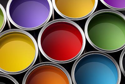 油漆罐,多色的,涂料,艺术,水平画幅,正上方视角,房屋,居住区,开着的,罐子