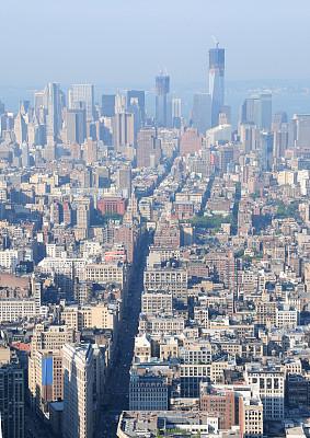 纽约,城市天际线,曼哈顿,华尔街,东河,天文台,哈德逊河,鱼眼镜头,垂直画幅,高视角