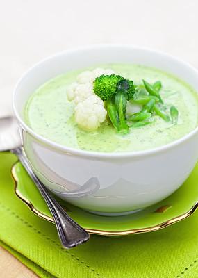 奶油汤,健康食物,椰菜奶油,青豆,蔬菜汤,垂直画幅,选择对焦,美,素食,无人