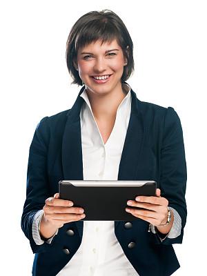 女商人,使用平板电脑,垂直画幅,半身像,套装,仅成年人,青年人,专业人员,技术,触控板