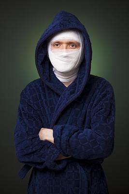 绷带,男人,激光手术,肉毒毒素注射,纱布,整形手术,垂直画幅,美,健康保健,化妆用品
