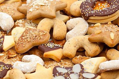 饼干,大量物体,德式姜饼,饮食,水平画幅,姜饼人,正上方视角,面包店,特写