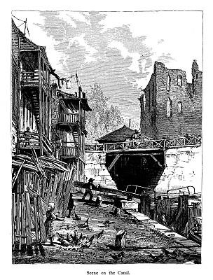 维吉尼亚,运河,泰晤士河畔里士满市,都市风光,詹姆士河,里的满,垂直画幅,古董,19世纪风格,无人