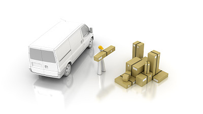 递送人员,搬家卡车,厢式货车,留白,面包车,水平画幅,垒起,板条箱,陆用车,货运