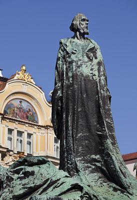 纪念物,布拉格,受胡斯纪念馆,布拉格旧城广场,垂直画幅,纪念碑,艺术,外立面,墙,符号