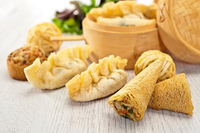 开胃品,东方人,春卷,点心,水平画幅,膳食,海产,肉,中国人,蔬菜