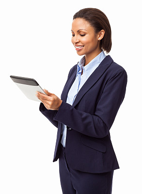 平板电脑,女商人,分离着色,商务,触摸屏,经理,网上冲浪,专业人员,背景分离,一个人