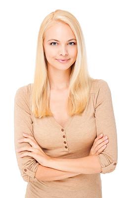 青年女人,自然美,垂直画幅,正面视角,留白,半身像,30岁到34岁,仅成年人,青年人,白色
