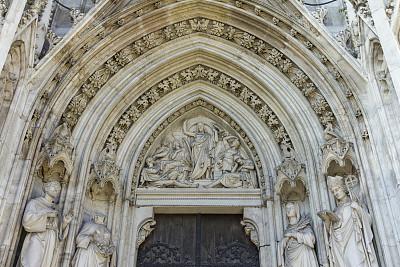 水平画幅,建筑,无人,哥特式风格,门,奥地利,建筑物门,雕像,维也纳