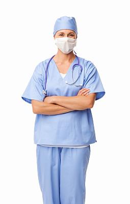 女性,分离着色,衣服,手术帽,仅中年女人,健康保健工作人员,仅一个中年女人,健康保健