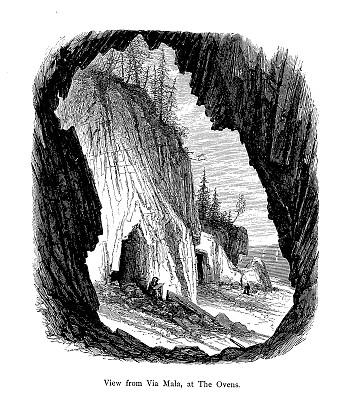 缅因州,烤炉,风景,雕刻图像,木制,1872,蒙特荒岛,垂直画幅,19世纪风格,无人