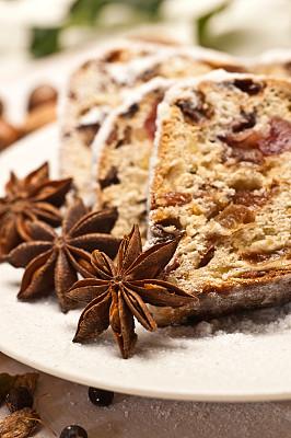 果子甜面包,杏仁糖衣,德国食物,水果蛋糕,无人,传统,蛋糕,茴芹,糖粉