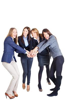 女商人,团队,sea of hands,垂直画幅,留白,性格,青年人,信心,商务,露齿笑