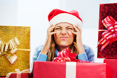 女人,礼物,与众不同,物理压力,情绪压力,托腮,新年,家庭生活,仅成年人