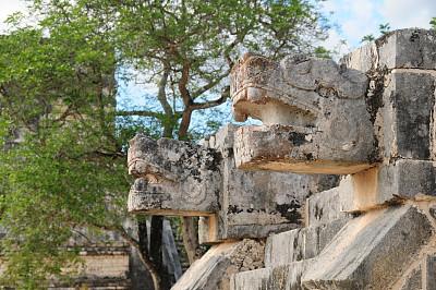 契晨-伊特萨,墨西哥,尤卡坦州,古代文明,水平画幅,无人,古老的,户外,石材,长焦镜头