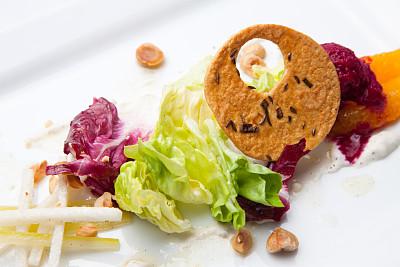 沙拉,草莓冰糕,松籽,水平画幅,橙色,无人,果汁冰糕,橙子,莴苣,覆盆子