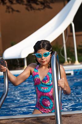 游泳池,水滑道,游泳护目镜,垂直画幅,水,休闲活动,夏天,户外,泳装,运动员