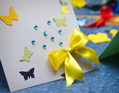 贺卡,自制的,人造钻石,空白的,留白,人造的,水平画幅,蝴蝶,无人,手艺