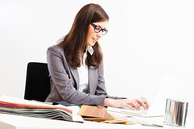 书桌,室内设计师,女性,小办公室,纺织品,图像,仅成年人,青年人,白色,专业人员