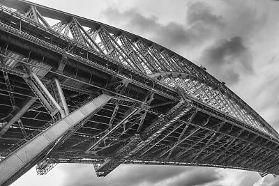 桥,悉尼港湾,悉尼港桥,国际著名景点,水平画幅,建筑,无人,黑白图片,吊桥,钢铁